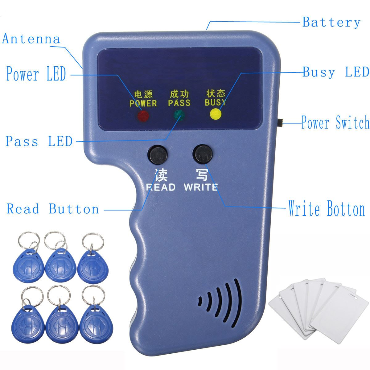 13Pcs 125Khz Handheld RFID ID Card Copier Reader Writer Duplicator  Programmer with 6 pcs Writable Tags and 6 pcs cards