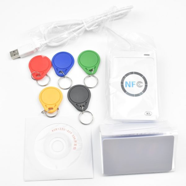 USB ACR122U NFC RFID Smart Card Reader Writer + 5 pcs UID Cards + 5pcs UID  Tags+ SDK + M-ifare Copy Clone Software